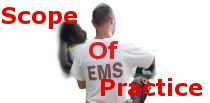 Picture of a an EMT treating a patient, representing scope of practice.