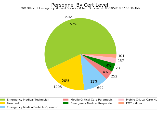 graphic of the total number of certified EMS personnel by their certification level