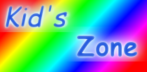 a stylized graphic with rainbow colors representing the kid's zone section